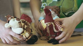 Children show the talking scene with toys stock footage