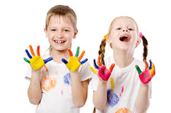 Children showing their painted hands Stock Photography