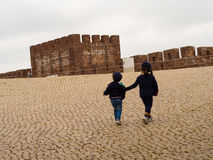 Children Sightseeing. Children Visiting Castle of Silves in Portugal Royalty Free Stock Photo