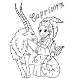 The children sign horoscope doodle outline hand drawing for coloring isolated Royalty Free Stock Images