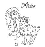 The children sign horoscope doodle outline hand drawing for coloring isolated Stock Photo