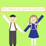 Children with sign It's time to go to school Royalty Free Stock Image