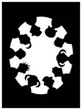 Children silhouette. Illustrated line art work of children silhouette stock illustration