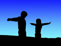 children silhouette Royalty Free Stock Photos