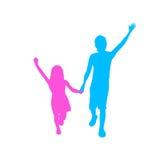 Children Silhouette, Full Length Boy and Girl Stock Photography