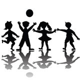 Children silhouette playing Royalty Free Stock Photography