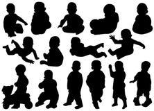 Children silhouettes Royalty Free Stock Photos