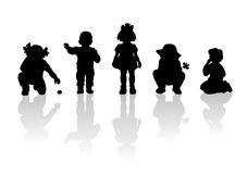 Children silhouettes - 4. Black children's silhouettes on white background Royalty Free Stock Photography