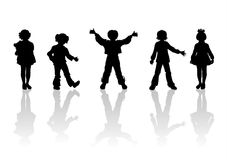 Children silhouettes - 5. Black children's silhouettes on white background Stock Photography