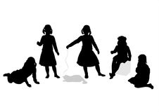 Children silhouettes 6. Five black children's silhouettes and a cat on a white background