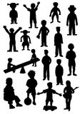 Children silhouettes. Silhouettes of many different kids and teenagers Stock Photos