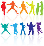 Jumping kids jump silhouettes silhouette child kid vector sport dancing dance teenagers children teens teen teenage party school. Set of colored dancing, jumping Royalty Free Stock Photo