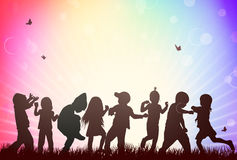 Children silhouettes Stock Photo