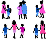 Children silhouettes collection Stock Photos