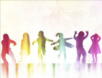 Children silhouettes dancing together Royalty Free Stock Images