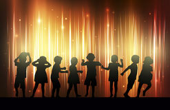 Children silhouettes dancing together. Color Royalty Free Stock Photos