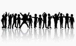 Children silhouettes dancing together. Concept Royalty Free Stock Photo
