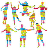 Children silhouettes in geometrical childish style pattern Stock Photography