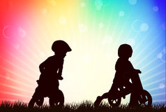 Children silhouettes Stock Image