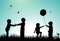 Children silhouettes Stock Image