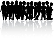 Children silhouettes. Happy girls and boys Royalty Free Stock Image