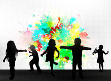 Children silhouettes. Happy girls and boys Royalty Free Stock Photos