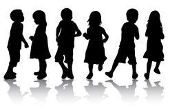 Children silhouettes. Happy girls and boys Stock Photos