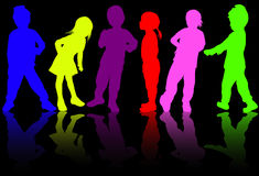 Children silhouettes Royalty Free Stock Photo