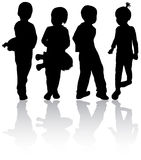Children silhouettes Stock Photos