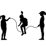 Children silhouettes jumping rope. Black children silhouettes jumping rope Royalty Free Stock Image