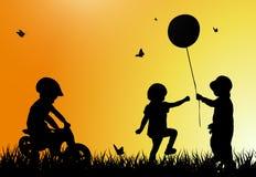 Children silhouettes Stock Photos