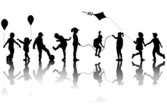 Children silhouettes playing with a kite and balloons. On white background royalty free illustration