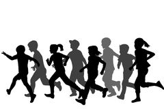 Children silhouettes running Stock Image