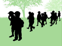 Children silhouettes Stock Photography