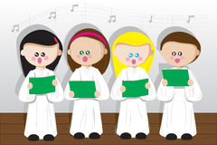 Children sing. Three girls and boy sing church song Royalty Free Stock Images