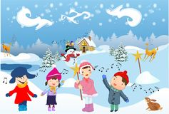 Children sing the Carol. Winter landscape and children who sing the Carol stock illustration