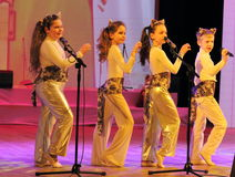 Children the singers. Speech by the art group Soniah on the stage of the Kyiv Palace of children and youth. Yuileyny concert dedicated to the twentieth Stock Photo