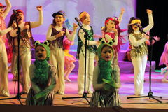 Children the singers. Speech by the art group Soniah on the stage of the Kyiv Palace of children and youth. Yuileyny concert dedicated to the twentieth Royalty Free Stock Photos