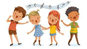 Children singing royalty free illustration