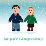 Children singing in the snow Royalty Free Stock Images