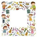 Music school for kids Vector illustration Children singing songs, playing musical instruments Kindergarten Doodle icon. Children singing songs, playing musical Royalty Free Stock Image