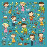 Music school for kids Vector illustration Children singing songs, playing musical instruments Kindergarten Doodle icon. Children singing songs, playing musical Stock Photography