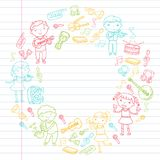 Music school for kids Vector illustration Children singing songs, playing musical instruments Kindergarten Doodle icon. Children singing songs, playing musical Royalty Free Stock Photo