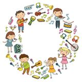 Music school for kids Vector illustration Children singing songs, playing musical instruments Kindergarten Doodle icon. Children singing songs, playing musical Stock Photos