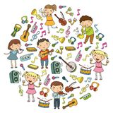 Music school for kids Vector illustration Children singing songs, playing musical instruments Kindergarten Doodle icon. Children singing songs, playing musical Stock Images