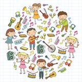 Music school for kids Vector illustration Children singing songs, playing musical instruments Kindergarten Doodle icon. Children singing songs, playing musical Stock Image