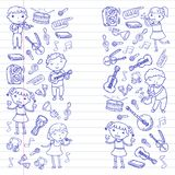 Music school for kids Vector illustration Children singing songs, playing musical instruments Kindergarten Doodle icon. Children singing songs, playing musical Royalty Free Stock Images