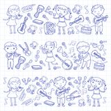 Music school for kids Vector illustration Children singing songs, playing musical instruments Kindergarten Doodle icon. Children singing songs, playing musical Royalty Free Stock Photos