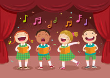 Children singing on the stage Stock Photography