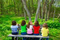 Children sister and friend girls sitting on forest park bench Royalty Free Stock Photography